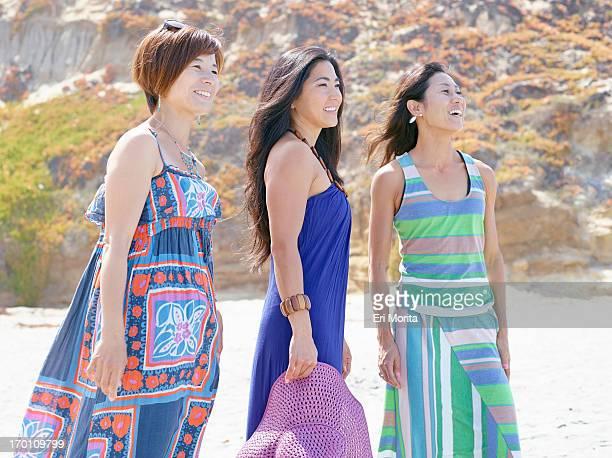 Women in sundress on beach