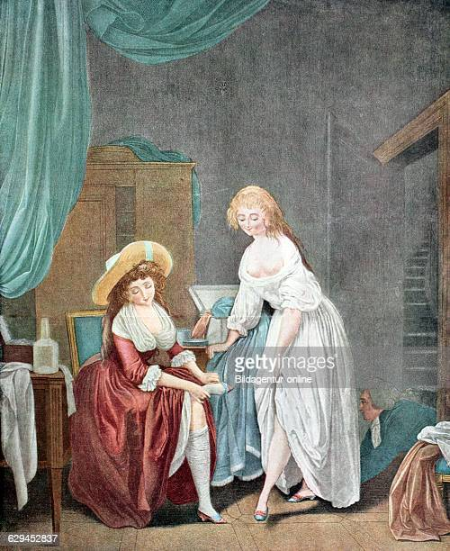 Women in the dressing room french copper engraving by chaponnier around 1788