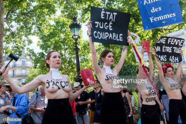 Women in the Femen movement carry signs with slogans such as quotNo Clemency or Forgivenessquot on them quotA woman will be killed in 48 hoursquot or...