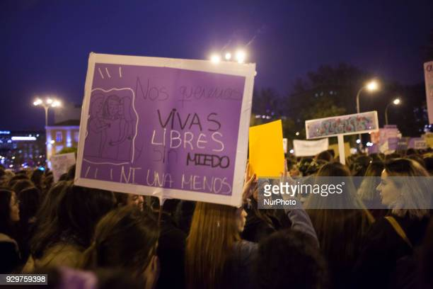 Women in the nonmixed bloc during the March 8 feminist strike on March 8 2018 in Madrid Spain Spain celebrates International Women's Day today with...