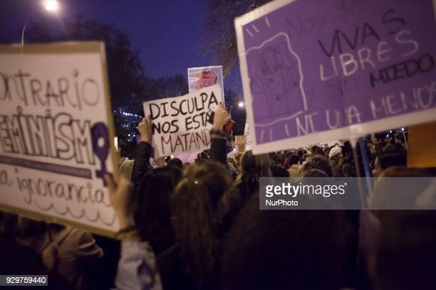 Women in the non-mixed bloc during the March 8 feminist strike on March 8, 2018 in Madrid, Spain. Spain celebrates International Women's Day today...