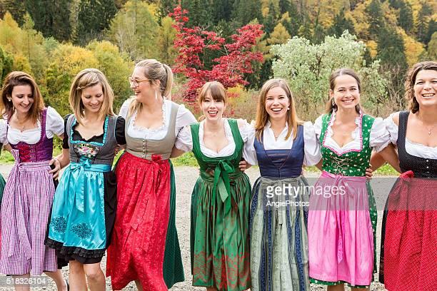 Women in traditional cloth having fun