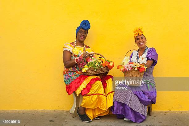 Women in Traditional Clothing at street of Old Havana Cuba