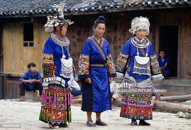 Women in traditional costume Miao people China