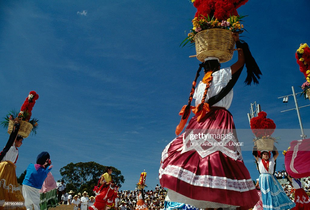 Women in traditional costumes at festival, Oaxaca : News Photo