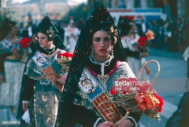 Women in traditional costumes Fallas of St Joseph Valencia Spain