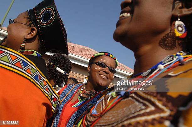 Women in traditional dress arrive at the house of former president Nelson Mandela for a party on July 19 2008 in Qunu Mandela celebrated his 90th...