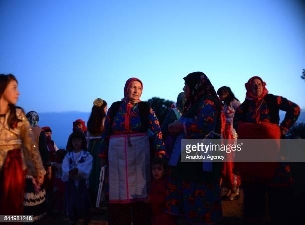 Women in traditional dresses take part in a Macedonian indigenous Juruk tribe wedding in Pochival Village near Stip Macedonia on September 8 2017...