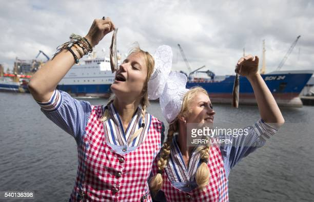 TOPSHOT Women in traditional Scheveningen clothing a district of The Hague pose with the new herring on June 14 2016 in the harbour of Scheveningen...
