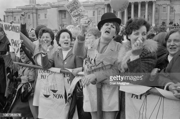 Women in Trafalgar Square at an 'equal pay demonstration' organised by the National Joint Action Campaign Committee for Women's Equal Rights, London,...