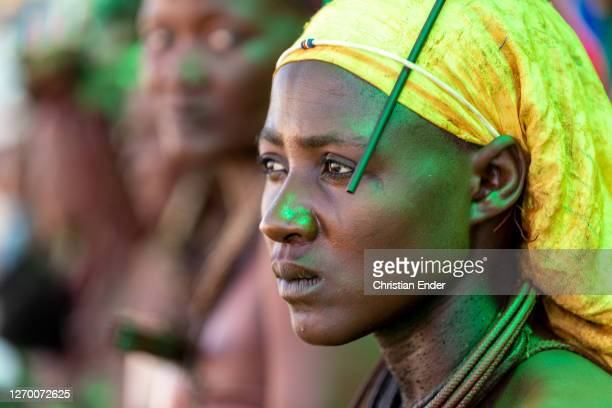 Women in tribal outfits celebrate the 29th anniversary of liberation of Namibia, at the Independence Stadium, in Windhoek, Namibia, on March 21,...