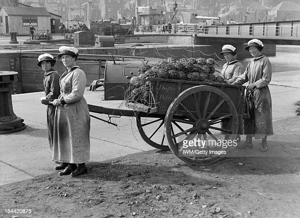 Women In Uniform During The First World War The Women's Royal Naval Service c 1918 Four ratings of the WRNS who have been working as mine net workers...