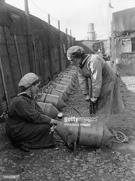 Women In Uniform During The First World War The Women's Royal Naval Service c 1918 Two WRNS ratings on the quayside at Lowestoft checking the air...