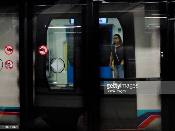 A women is seen in a Mass Rapid Transit train Kuala Lumpur or commonly known as KL is the national capital for Malaysia and is the fastest growing...