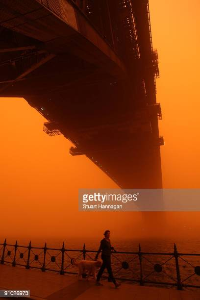 Women is seen walking her dog under the Sydney Harbour Bridge on September 23, 2009 in Sydney, Australia. Severe wind storms in the west of New South...