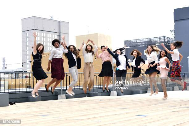 Women jumping in the air