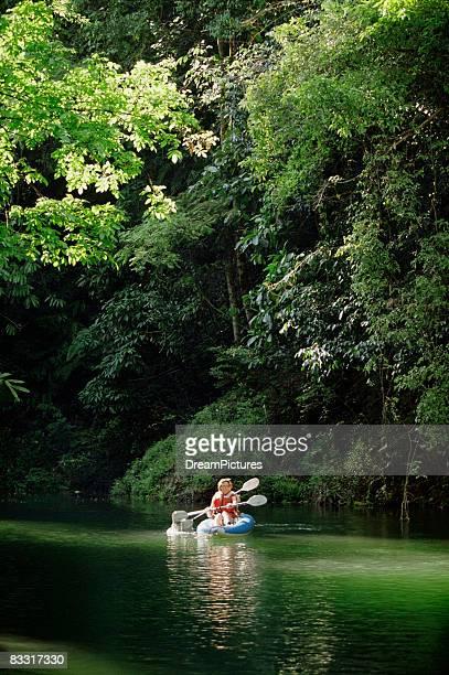 Women kayaking along river