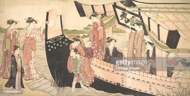 Women Landing from a Pleasure Boat Drawn Up to the Shore at Mukojima on Sumida River, Edo, circa 1785. Artist Torii Kiyonaga.
