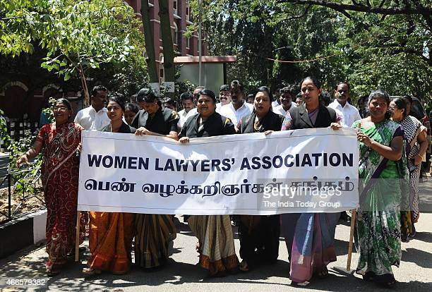 Women lawyers association and Madras high court advocates association demonstrating at the Madras high court over the killing of a lawyer at the...