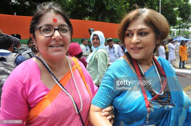 BJP Women Leaders and Actress Rupa Ganguly and Locket Chatterjee at the Yuva Swabhiman Samavesh rally Political rally on August 112018 in KolkataIndia