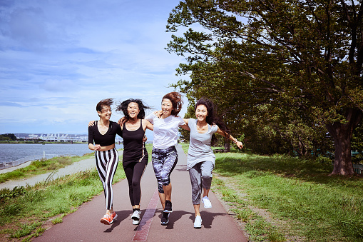 Women leaders running outdoors - gettyimageskorea