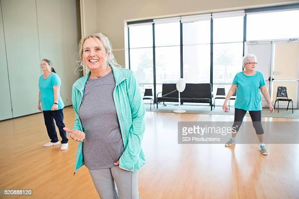 Women learning to dance at senior center