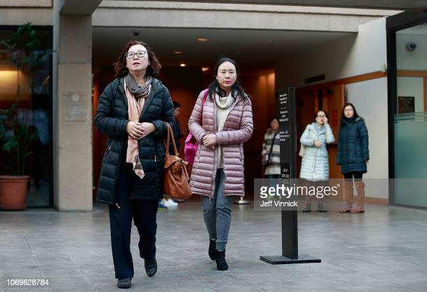 Women leave the BC Supreme Courthouse after observing the bail hearing for Huawei Technologies Chief Financial Officer Meng Wanzhou on December 7...
