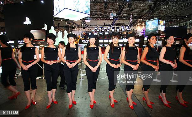 Women line up at the Sony Computer Entertainment booth during the Tokyo Game Show 2009 press and business day at Makuhari Messe on September 24 2009...