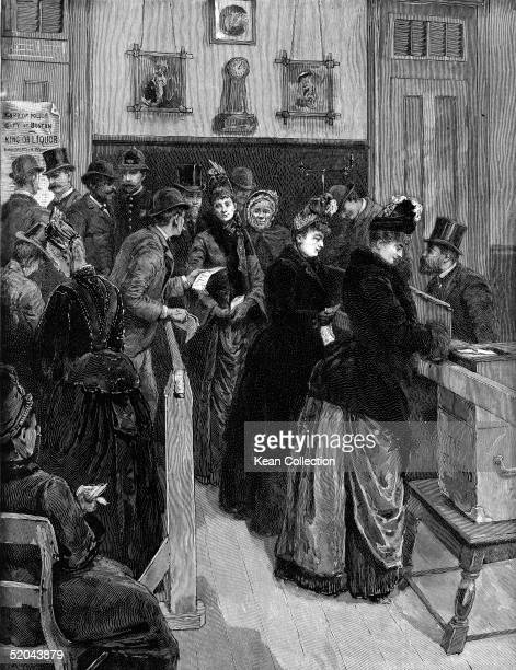 Women line up to vote in a municipal election Boston Massachusetts December 11 1888 Prior to the 19th Amendment some cities extended to women the...
