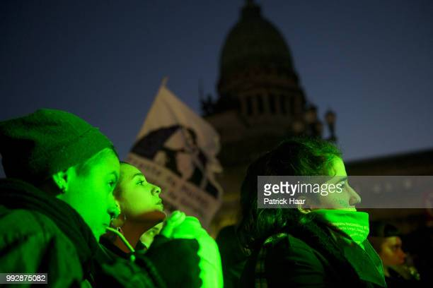 Women listen to the speach of a supporter of legal abortion in front of the National Congress demanding the sanction of the law of legal free and...