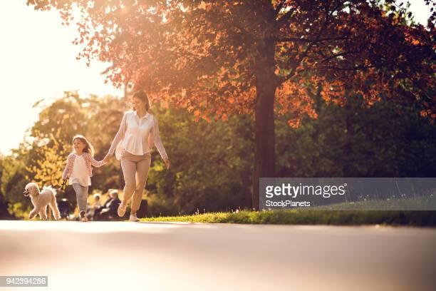 as mulheres, a menina e cãozinho andando no parque público - parque natural - fotografias e filmes do acervo