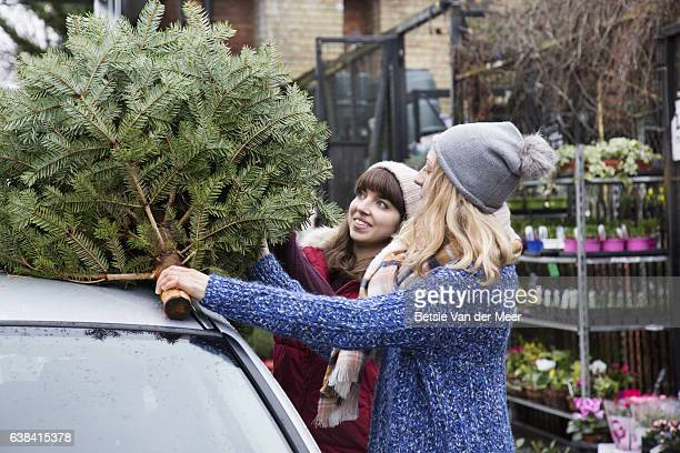 Women loading christmas tree on top of car roof at garden center.