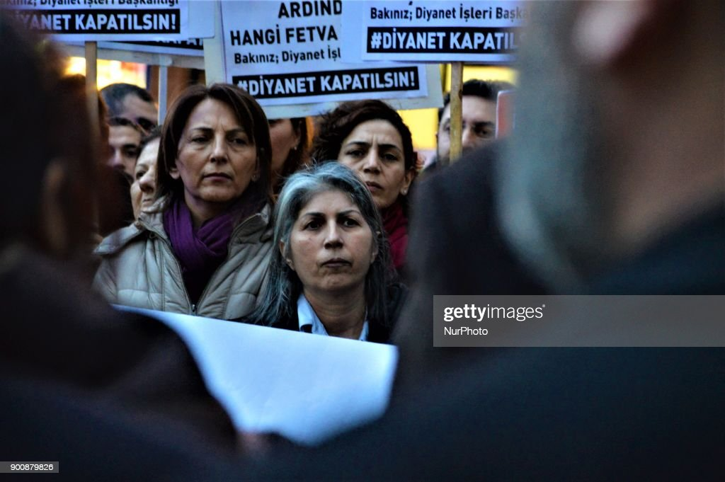 Women look on as they gathered to protest against Turkey's Presidency of Religious Affairs in Ankara, Turkey on January 3, 2018. The Turkish Presidency of Religious Affairs has stated on its official website that 9-year-old girls and 12-year-old boys are able to get married, the opposition media claimed on January 2.