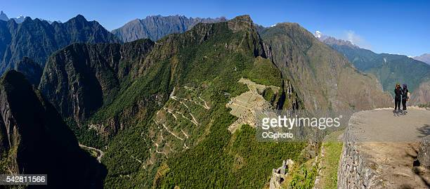 Women looking over ruins of Machu Picchu, Peru