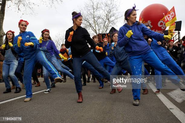 Women make a flash mob against the reform during the protest. Dozens of thousands of protesters demonstrated in Toulouse for the 6th demonstration...
