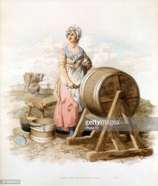 Women making butter Wooden churn pail form etc From William Henry Pyne 'Costume of Great Britain' London 1808 Colour
