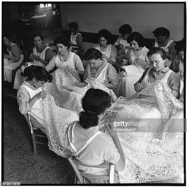 Women making lace on the island of Burano, Italy in 1954.