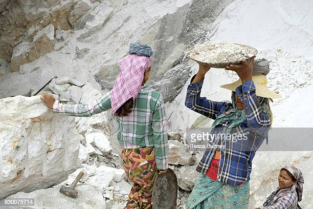 Women marble miners in Sagyin village on 19th May 2016 in Mandalay division Myanmar Sagyin a village 21 miles north of Mandalay is known for its...