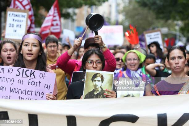 Women march along Castlereagh Street in solidarity with those in South America during the Sydney International Women's Day march on March 07 2020 in...