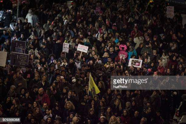 Women march during a demonstration demanding equal rights for women and men on the occasion of the Women's Day in Romeon March 8 2018 in Rome Italy
