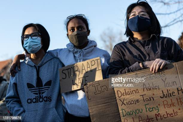 """Women march during the """"Asian Solidarity March"""" rally against anti-Asian hate in response to recent anti-Asian crime on March 18, 2021 in..."""