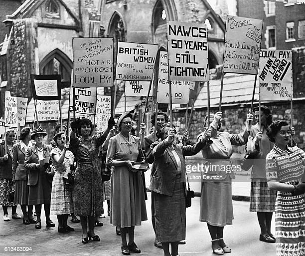 Women march from Westminster to Trafalgar Square in protest at the government's refusal to grant equal pay in the public services