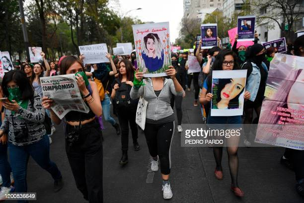 Women march in Mexico City, on February 14 during a protest against gender violence. - Several protests convened on Friday in the Mexican capital and...