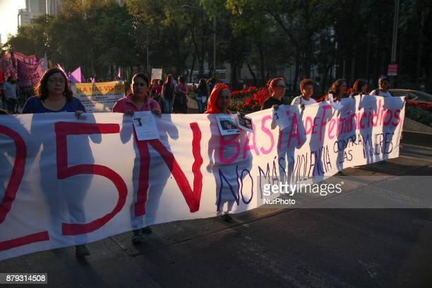 Women march marking the International Day for the Elimination of Violence against Women in Mexico City Saturday Nov 25 2017 They are demanding...