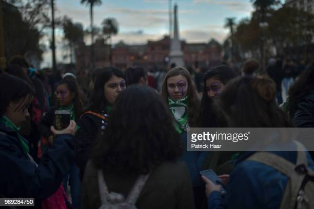 Women meet in Plaza de Mayo during a protest as part of the 'Not One Less' movement demanding legal abortion on June 04 2018 in Buenos Aires Argentina