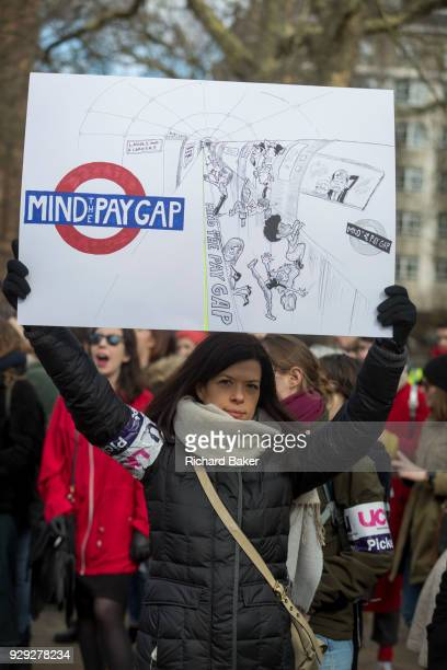 Women meet in Russel Square to celebrate International Womens' Day on 8th March 2018 in Russell Square London England