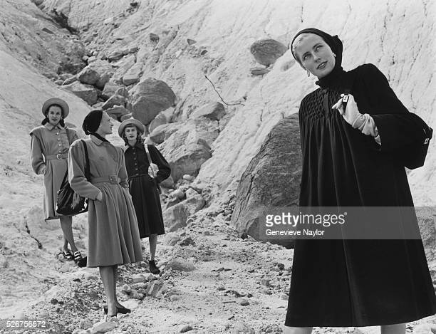 Women model wool coats by Tina Lesser LoBalbo MonteSano and Blotta with handbags by Mark Cross Bags 1945