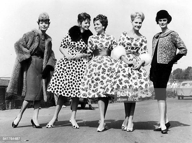 GERMAN FASHION SHOW 1959 Women modeling dresses by German designer Heinz Oestergaard at a fashion show in Berlin 1959