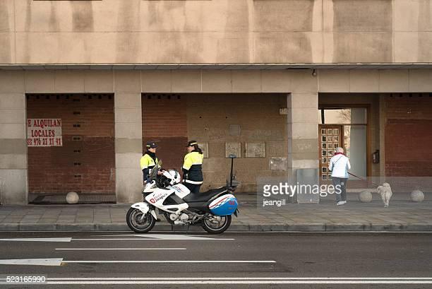 Women motorbike police officers, Zaragoza, Spain