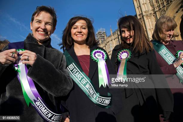 Women MPs from the Labour Party gather outside the Houses of Parliament to celebrate the 100th anniversary of the Suffragette movement and women's...